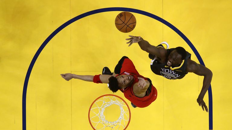 Draymond Green in action for Golden State during Game 2 of the Western Conference Finals