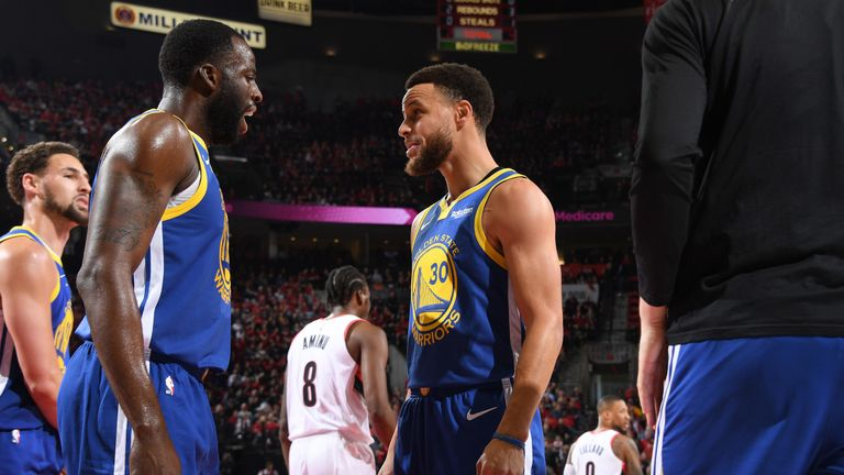 Draymond Green and Stephen Curry celebrate combining for a basket during the Warriors' series-clinching Game 4 win over the Trail Blazers