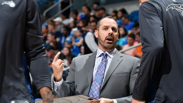 Frank Vogel issues instructions on the Orlando Magic sideline