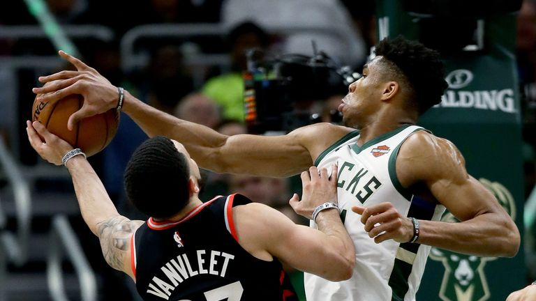 Giannis Antetokounmpo rejects Fred VanVleet during the Milwaukee Bucks' Game 2 hammering of the Toronto Raptors