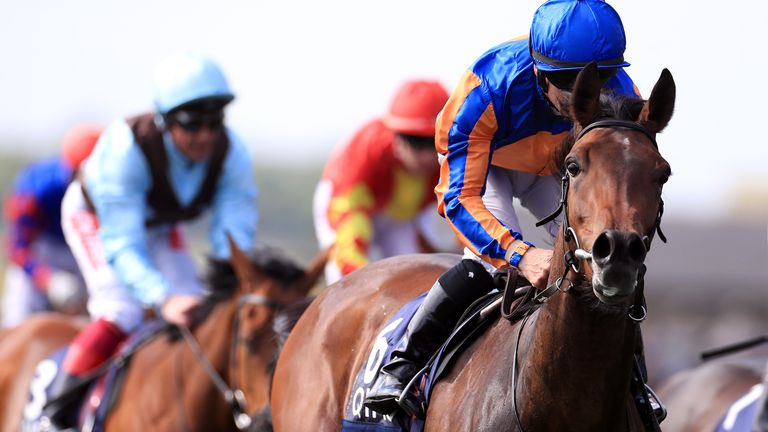 Hermosa, ridden by jockey Wayne Lordan, wins the QIPCO 1000 Guineas during day two of the QIPCO Guineas Festival at Newmarket Racecourse