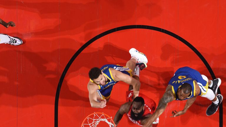 James Harden battles for a rebound during Houston's Game 4 win over Golden State