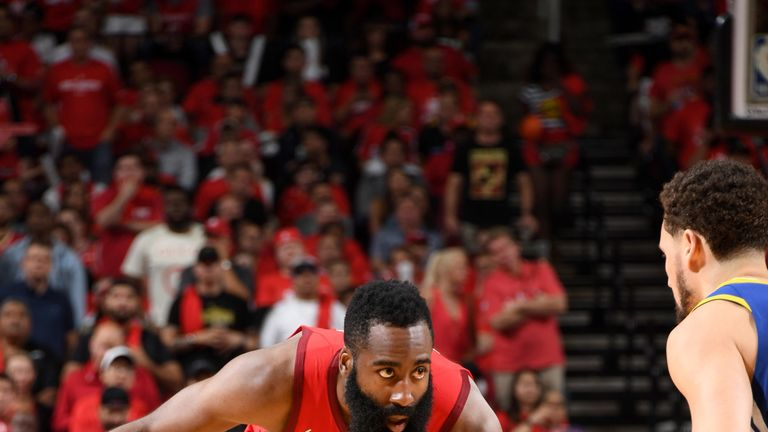 James Harden prepares to attack in Game 6 against Golden State