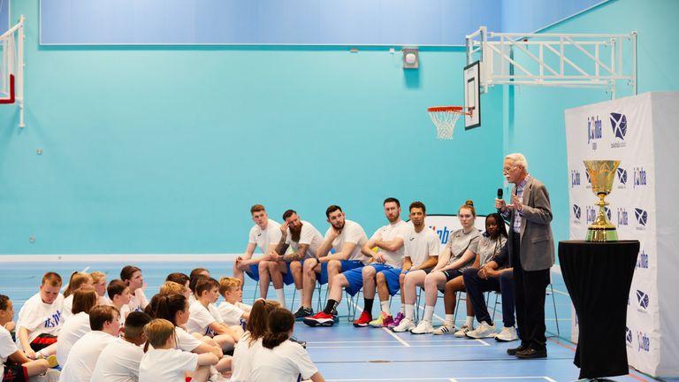Jim Naismith addresses Jr. NBA participants in Glasgow - photo courtesy of Simon Way/NBAE)