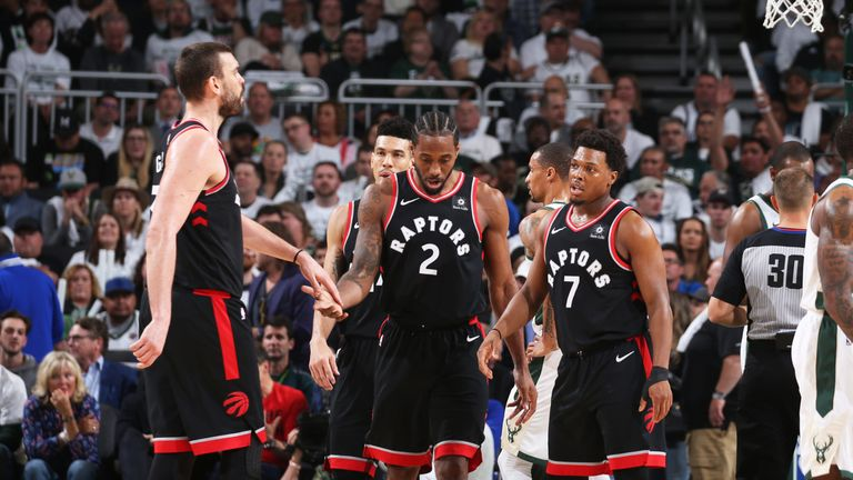 Kawhi Leonard and Kyle Lowry in action during the Raptors' Game 1 loss in Milwaukee