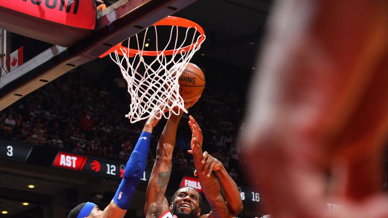 Kawhi Leonard attacks the rim in the Raptors' Game 5 win over the 76ers