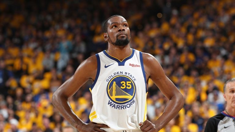 Kevin Durant in action during Game 5  of the Golden State Warriors series with the Houston Rockets