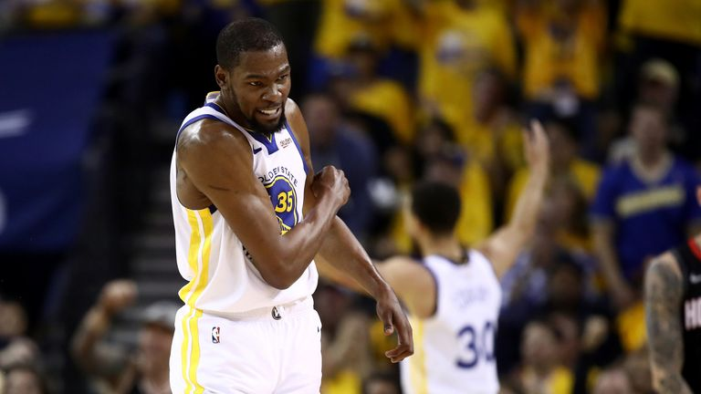 Kevin Durant celebrates a basket prior to his game-ending injury in Game 5