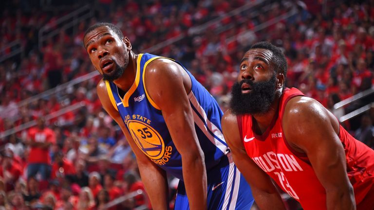 Kevin Durant and James Harden prepare to rebound a free throw during Game 4