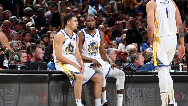 Klay Thompson and Kevin Durant pictured during the 2018 NBA Finals