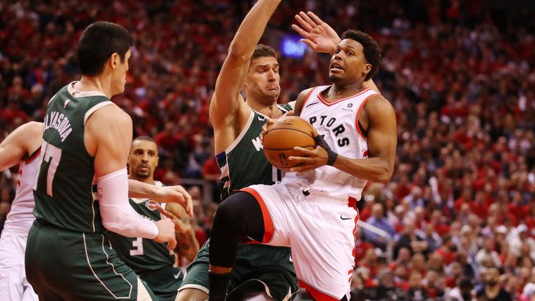 Kyle Lowry attacks the Milwaukee Bucks defense in Game 4 of the Eastern Conference Finals