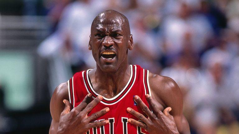 Michael Jordan shows his emotions after sealing his sixth NBA title