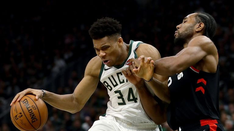 Giannis Antetokounmpo attacks in Milwaukee's Game 2 victory over the Toronto Raptors