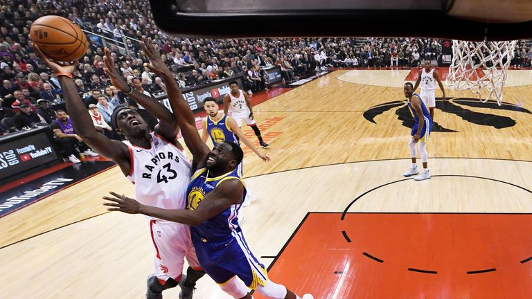 Pascal Siakam shoots over Draymond Green in Game 1 of the NBA Finals