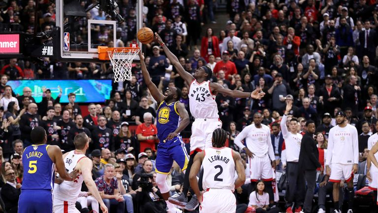 Pascal Siakam rejects Draymond Green in Game 1 of the NBA Finals