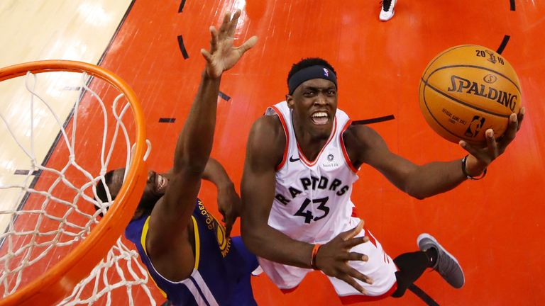 Pascal Siakam attacks the rim in Game 1 of the NBA Finals