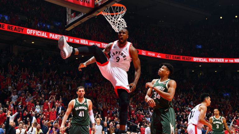 Serge Ibaka celebrates a huge dunk during the Raptors' Game 4 win over the Bucks