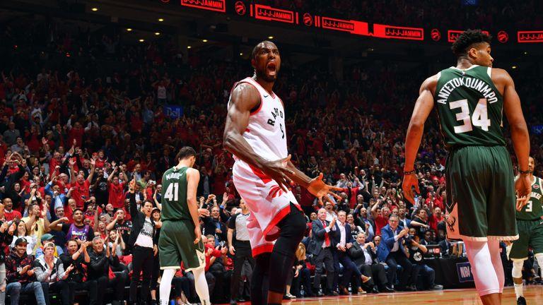 Serge Ibaka celebrates a Toronto basket during the Raptors' series-levelling Game 4 win
