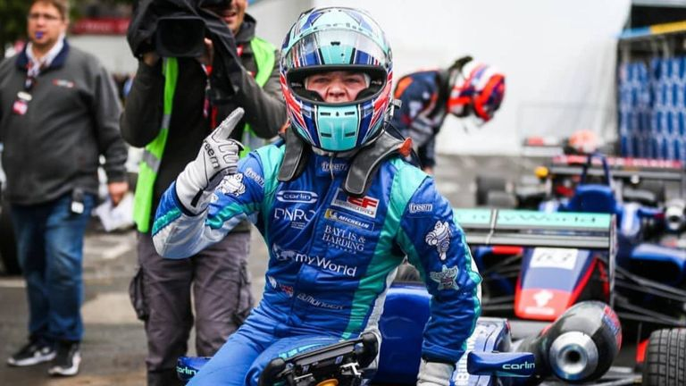 Billy Monger celebrates winning the Grand Prix De Pau. Pic: @BillyMonger