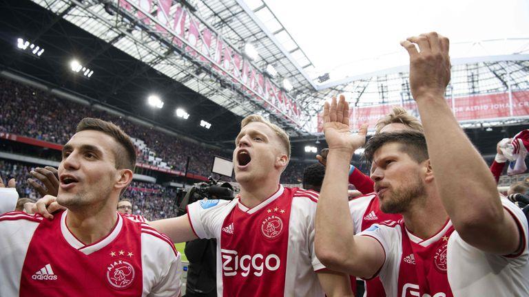Ajax celebrating beating Utrecht