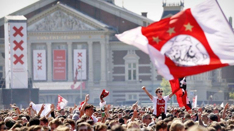Ajax fans celebrate winning the double