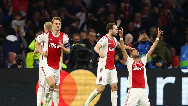 Hakim Ziyech of Ajax celebrates after scoring his team's second goal with Daley Blind of Ajax during the UEFA Champions League Semi Final second leg match between Ajax and Tottenham Hotspur at the Johan Cruyff Arena