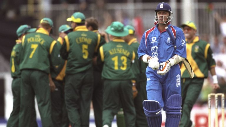 Alec Stewart trudges off after being dismissed for a first-ball duck in the defeat to South Africa