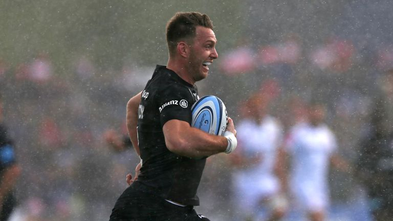 Alex Lewington ran in two tries for Saracens against Exeter