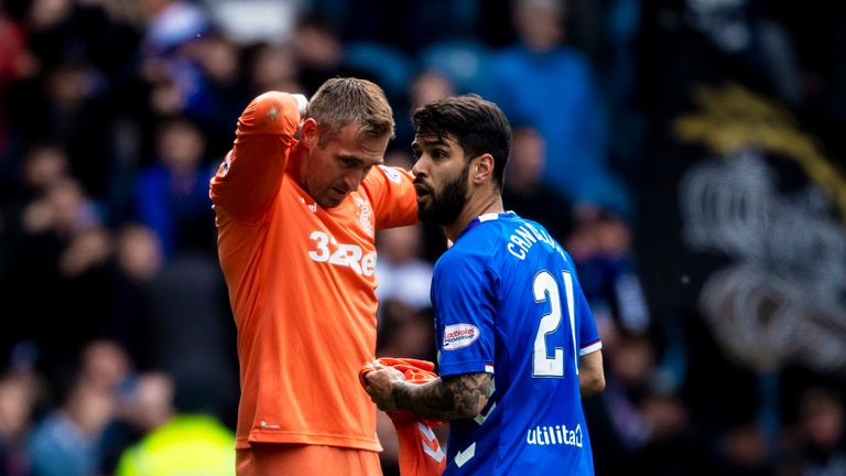 05/05/19 LADBROKES PREMIERSHIP.RANGERS v HIBERNIAN (1-0).IBROX - GLASGOW.Rangers Allan McGregor and Daniel Candeias after the goalkeeper is red carded.