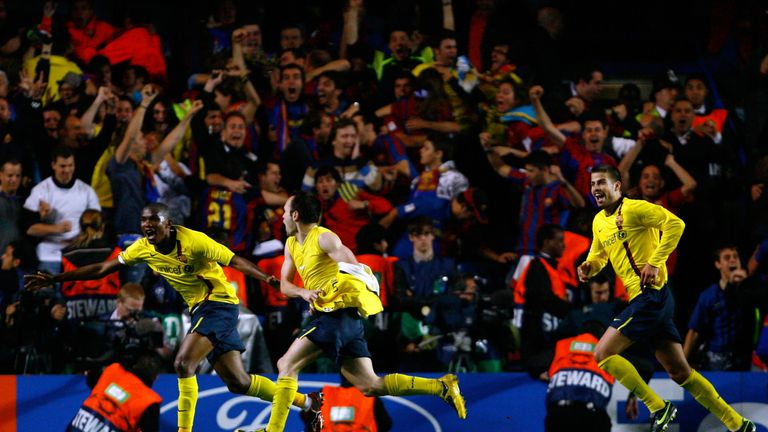 Iniesta celebrates as Barcelona booked their in the Champions League final