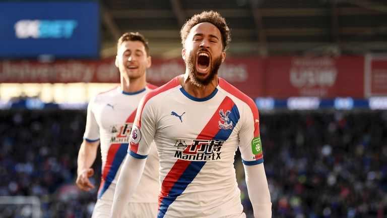 Andros Townsend celebrates after scoring Crystal Palace's third goal