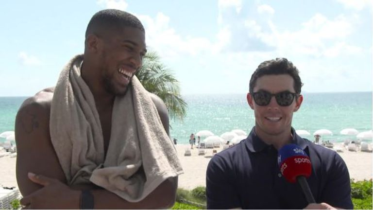 Anthony Joshua received a visit from Rory McIlroy