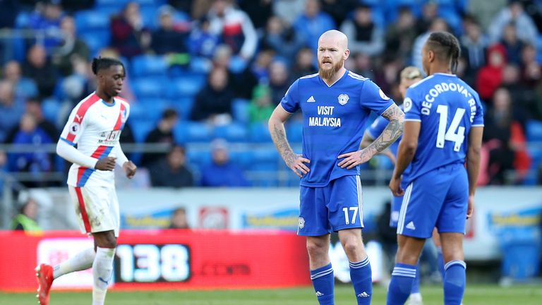 Aron Gunnarsson and Bobby Reid of Cardiff City look dejected