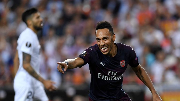 Pierre-Emerick Aubameyang celebrates scoring for Arsenal in Europa League semi-final second leg