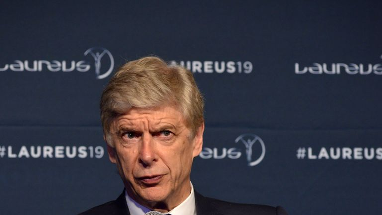 Arsene Wenger speaks at the Winners Press Conference during the 2019 Laureus World Sports Awards in February