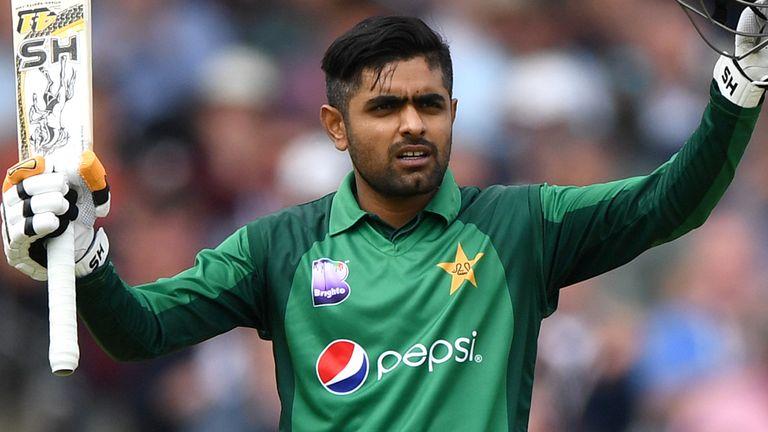 Babar Azam celebrates reaching his ninth ODI century