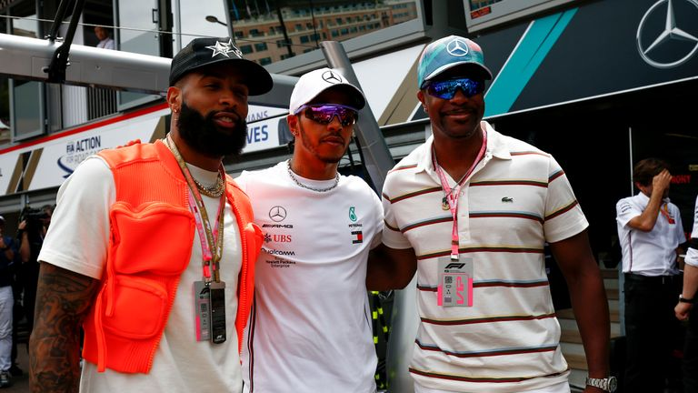 (left to right) Beckham Jr with Hamilton and actor Chris Tucker