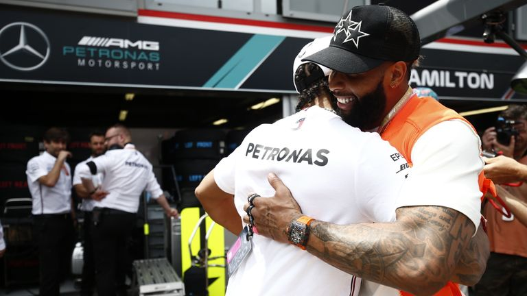 Odell Beckham Jr and Lewis Hamilton are good friends and embraced before the race