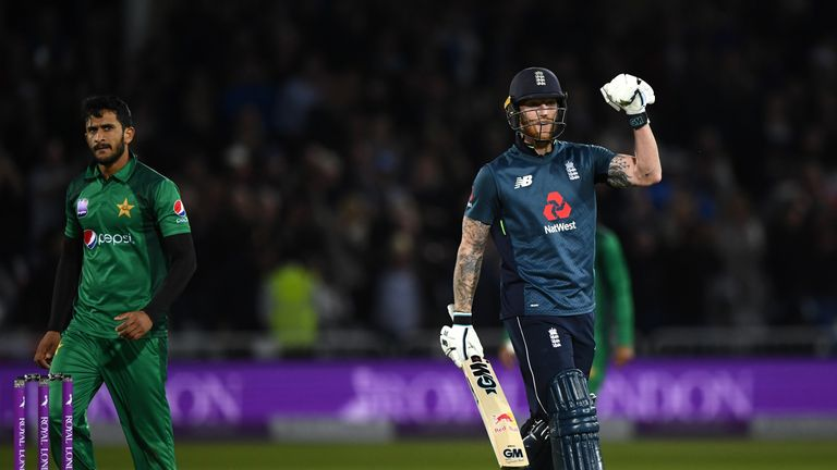Ben Stokes celebrates hitting the winning runs in England's three-wicket win over Pakistan in the fourth ODI