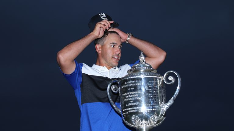 Brooks Koepka celebrates winning the 101st PGA Championship at Bethpage Black