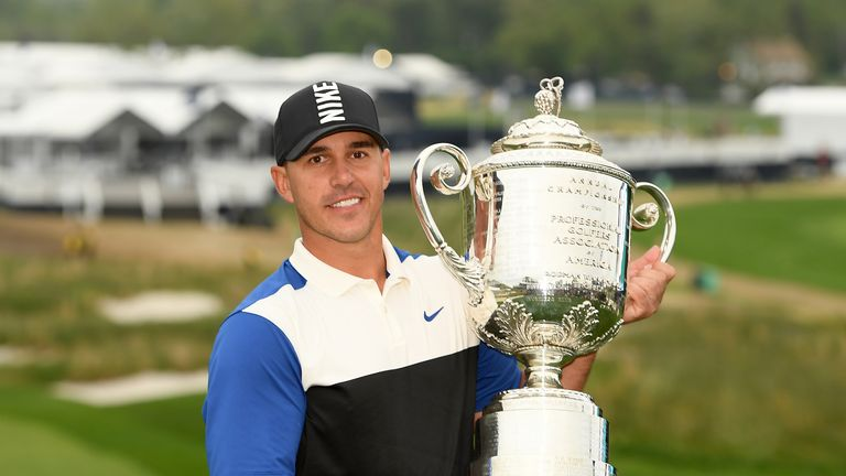 Brooks Koepka is bidding for a rare hat-trick of PGA Championship wins
