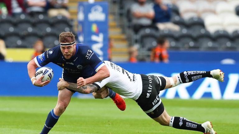 Remi Casty is tackled by man of the match Marc Sneyd on Thursday