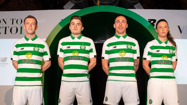 Callum McGregor, James Forrest, Scott Brown, and Kelly Clark model Celtic's new home kit for the 2019/2020 season at The Arches in Glasgow