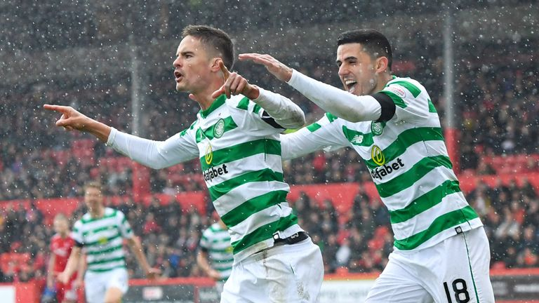 Mikael Lustig (left) celebrates his opening goal with Tom Rogic