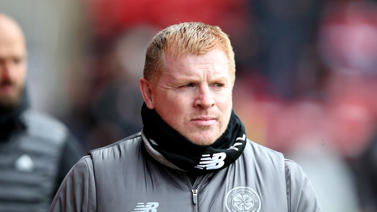 Manager of Celtic Neil Lennon walks to the dugout before the Ladbrokes Scottish Premiership match between Aberdeen and Celtic at Pittodrie Stadium on May 04, 2019 in Aberdeen, Scotland.