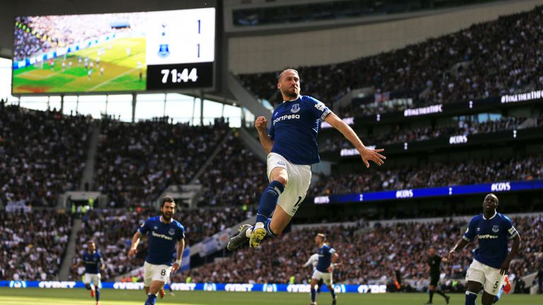Cenk Tosun leaps for joy after turning the game around with Everton's second