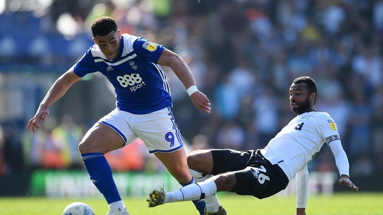 Cole in action for Derby against Che Adams of Birmingham City