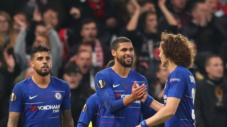 Ruben Loftus-Cheek celebrates scoring Chelsea's first goal in Europa League semi-final second leg with team-mate David Luiz
