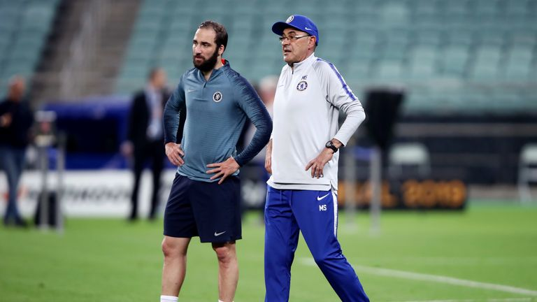 Gonzalo Higuain was involved in argument with David Luiz before Maurizio Sarri stormed out of Chelsea training