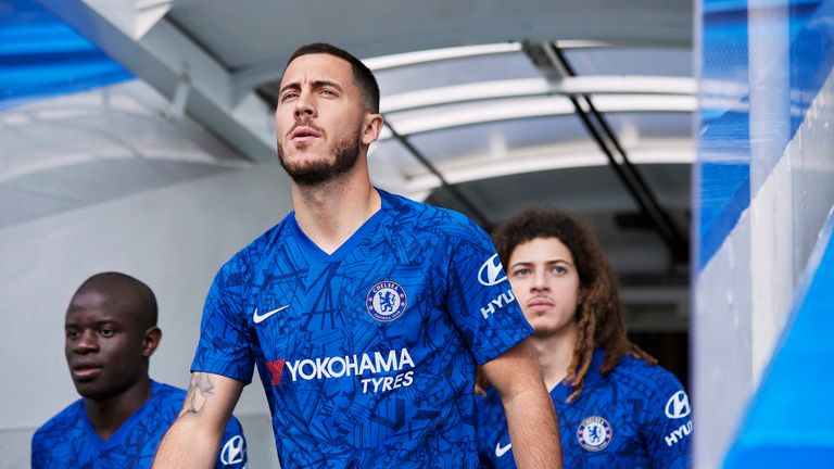 Eden Hazard, N'Golo Kante and Ethan Ampadu model Chelsea's kit for the 2019/20 season (Nike)